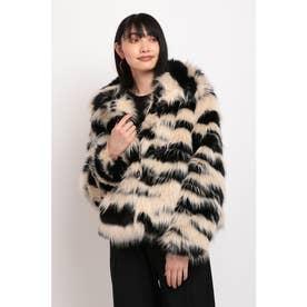 アニマルプリント&マキシ刺繍入りレディースフェイクファーショートジャケット (グレー/ブラック)