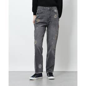 宇宙モチーフの刺繍入りレディースクロップドストレートジーンズ (グレー/ブラック)