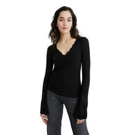 ランタンスリーブのレディース長袖Tシャツ (グレー/ブラック)