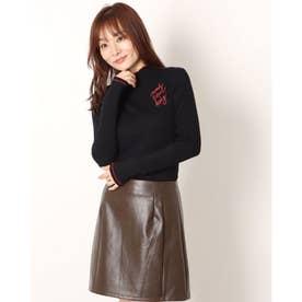 バックレースデザインのレディーススリムTシャツ (グレー/ブラック)
