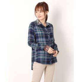 デニムカラーのレディースタータンチェックシャツ (ブルー)