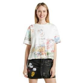 ミッキーマウスプリントのレディース半袖Tシャツ (ホワイト)