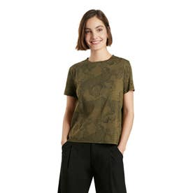 花柄&アニマルプリントのレディースTシャツ (グリーン)