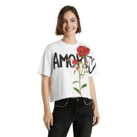 花柄プリントの100%コットン素材レディースTシャツ (ホワイト)