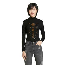 占星術モチーフの刺繍入りレディーススリムボディスーツ (グレー/ブラック)