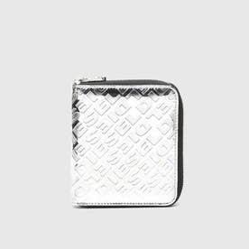 レディース メタリック ジップ付き折り財布 (シルバー)