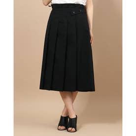 ベルトデザイン タック使い スカート (ブラック)