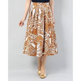 グログラン素材 フラワープリント スカート (キャメルXオフホワイト)