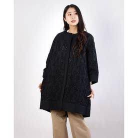 コットンボーラー刺繍 Aラインコート (ブラックケイ)