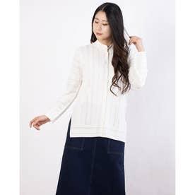 透かし編みレーススタンド襟ニットブラウス (オフホワイト)