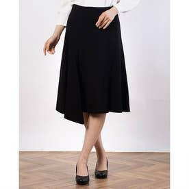 レーヨンストレッチポンチ素材ヘムスカート (ブラック)