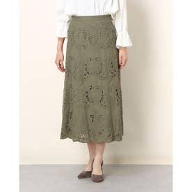 カットワーク刺繍使いAラインロングスカート (カーキケイ)