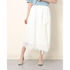 ラップ風フレアーレーススカート (オフホワイト)