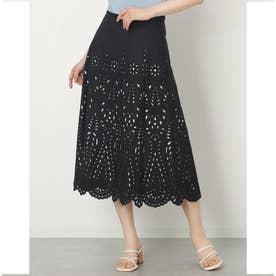 カットワーク刺繍フレアースカート (ブラックケイ)
