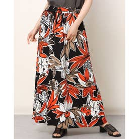 フラワープリントジャージーマキシスカート (ブラックXオレンジ)