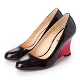 THERESA (Guitar Painted Wedge Heel Pumps) (BROWN/RED)
