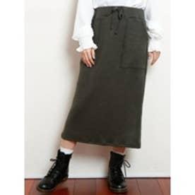 ニットナロースカート チャコールグレー