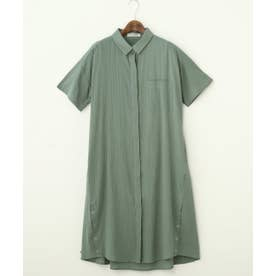 AND 裾ボタン半袖SH/OP(D) (カーキ)