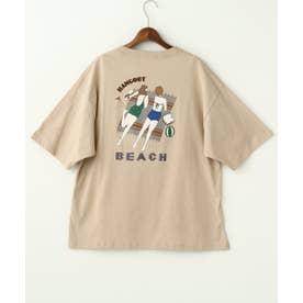 ビーチガールズBACK刺繍TEE (ベージュ)