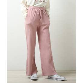 ランダムテレコ裾ボタンパンツ (ピンク)