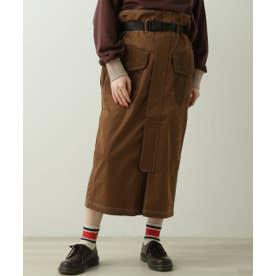 ベルト付きナイロンナロースカート (ブラウン)