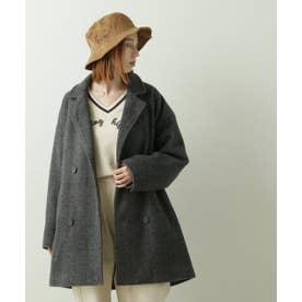 ヘリンボーンゆるジャケットコート(B) (チャコールグレー)