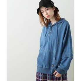WOD 袖取り外しデニム裏毛パーカー (ブルー)