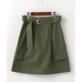 共布ベルト付きカーゴポケット台形スカート (カーキ)
