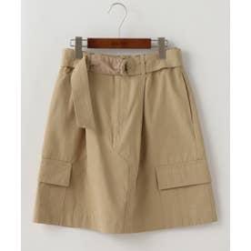 共布ベルト付きカーゴポケット台形スカート (ベージュ)