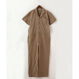 半袖開襟ジャンプスーツ (ベージュ)