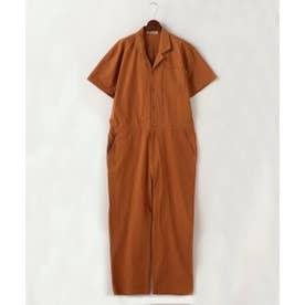 半袖開襟ジャンプスーツ (オレンジ)