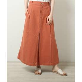 配色ステッチAラインスカート (オレンジ)