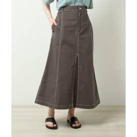 配色ステッチAラインスカート (スミクロ)