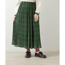 オリジナルチェック柄消しプリーツスカート (グリーン)