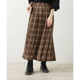 オリジナルチェック柄消しプリーツスカート (ブラウン)