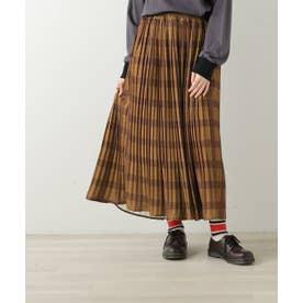 オリジナルチェック柄消しプリーツスカート (カラシ)