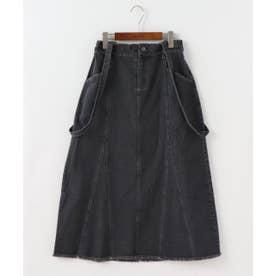切替えサス付きデニムスカート (黒)