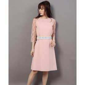 ビジューベルト付きドレス/ (ピンク)