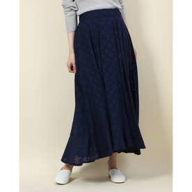 裾切替レーススカート (ネイビー)