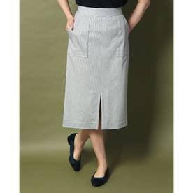 ポケット付ストライプタイトスカート (オフホワイト)