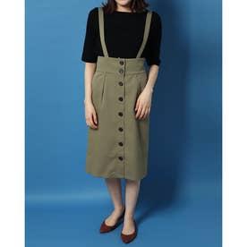 Haトレンチ風サス付きスカート (カーキ)