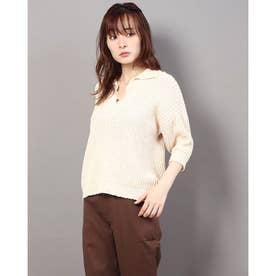 MIXカラー衿付きプルオーバー (オフホワイト)