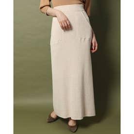 MIXカラーニットスカート (オフホワイト)