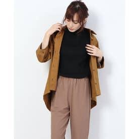 綿麻シャツジャケット (ブラウン)