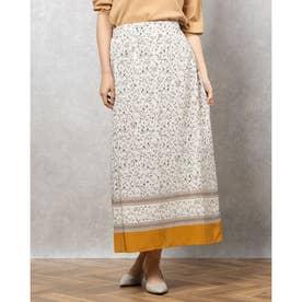 花柄裾ボーダーロングスカート (BEIGE)
