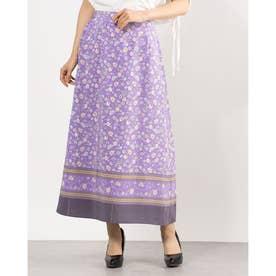 花柄裾ボーダーロングスカート (PURPLE)