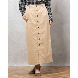 フロントボタンマキシタイトスカート (BEIGE)