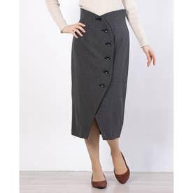チェック巻きスカート (GRAY)