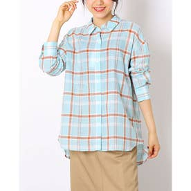 綿麻マドラスチェックBIGシャツ (SAX)