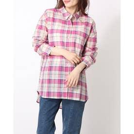 綿麻マドラスチェックBIGシャツ (PINK)